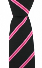 Black Tie with Thin Pink Stripes by Soprano